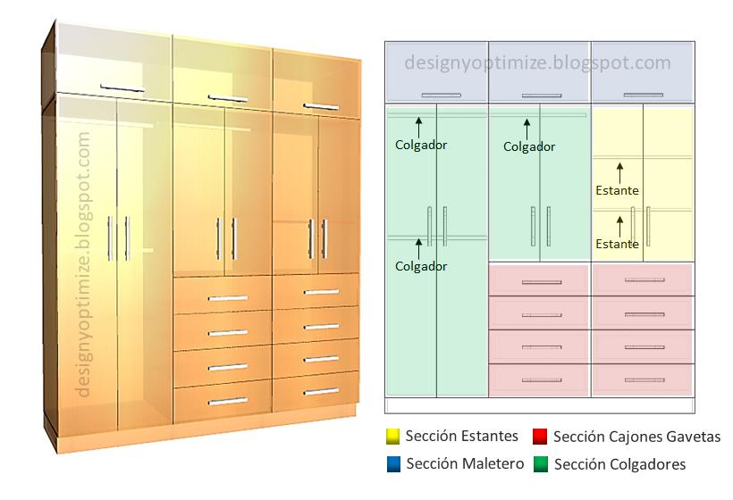 Dise o de muebles madera armario closet con 8 cajones for Disenos de zapateras para closet