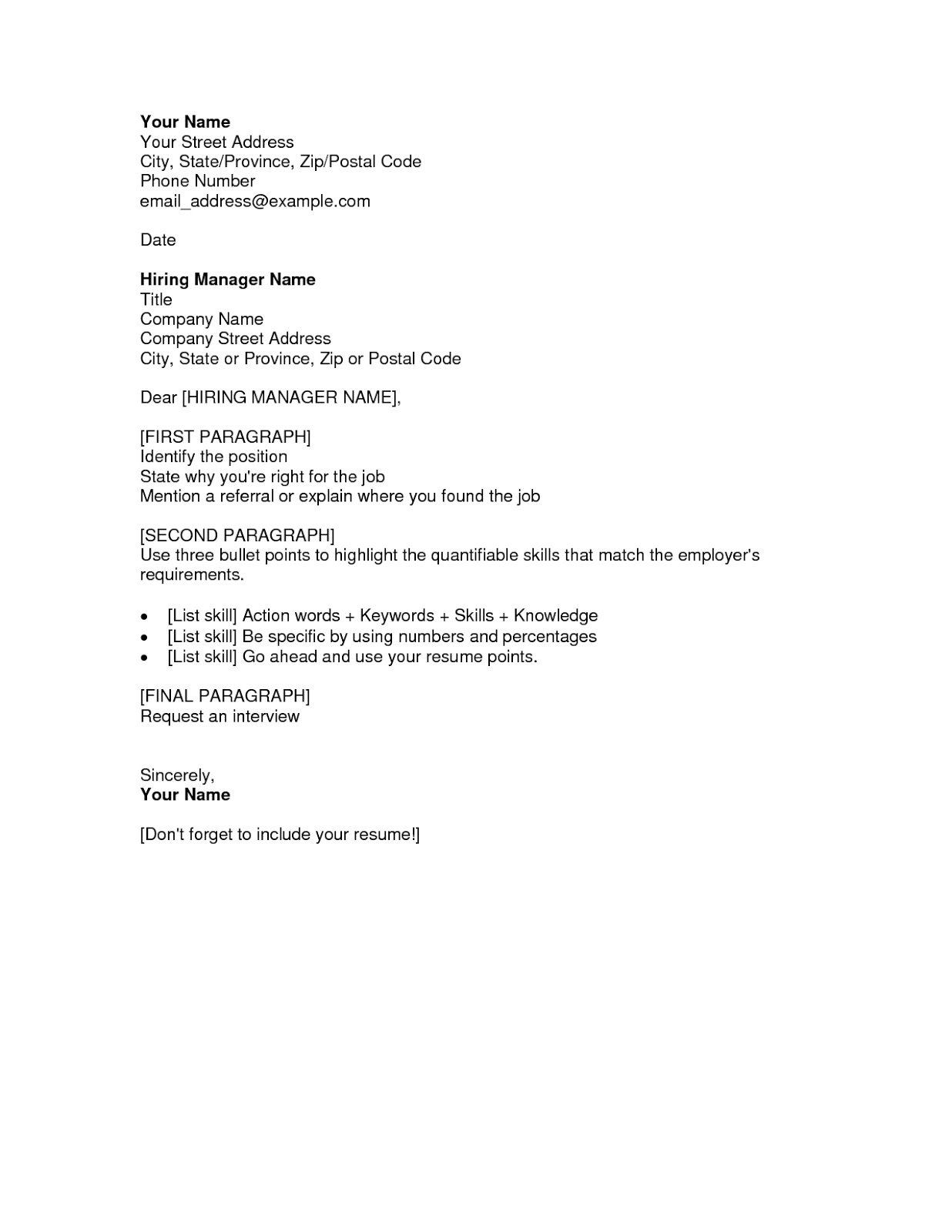 resume application letters