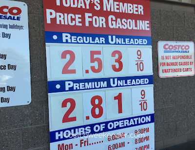 Costco gas for October 8, 2016 at Redwood City, CA