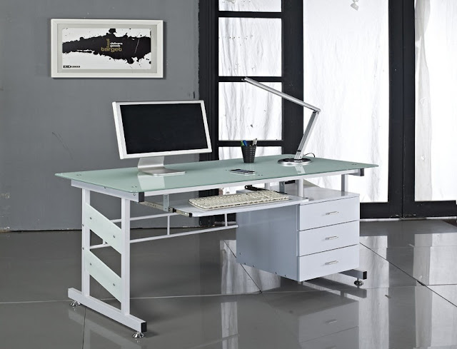 best buy white glass contemporary home office furniture Miami for sale online