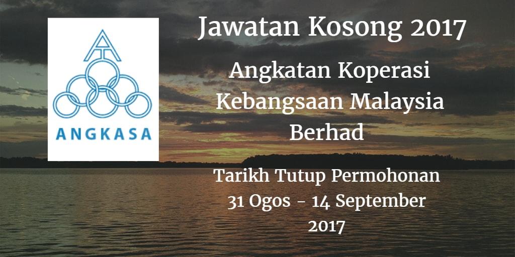 Jawatan Kosong ANGKASA 31 Ogos - 14 September 2017