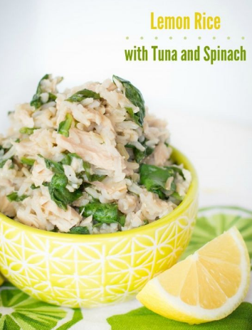 Lemon Rice Recipe with Tuna and Spinach