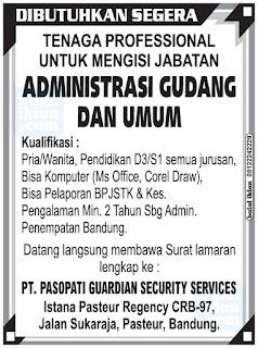Loker PT. Pasopati Guardian Security Services