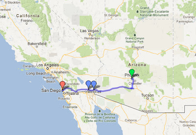Our driving route from Phoenix to San Diego on I-8