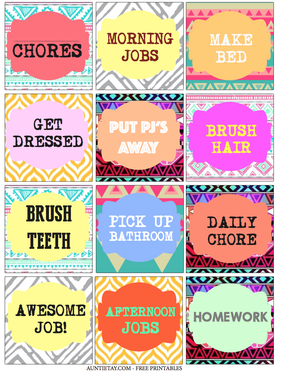 Auntie Tay Free Printable Chore Cards