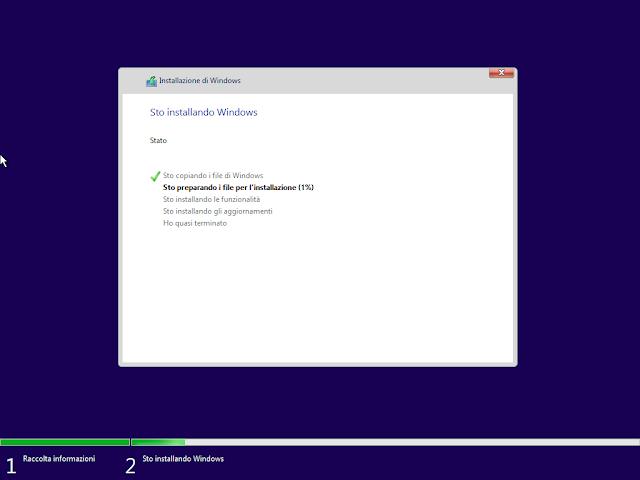 Avvio installazione Windows 10