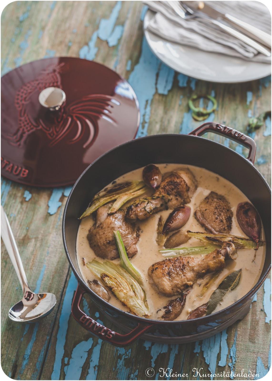 Coq au Vermouth | Geschmortes Hähnchen in Wermutsauce