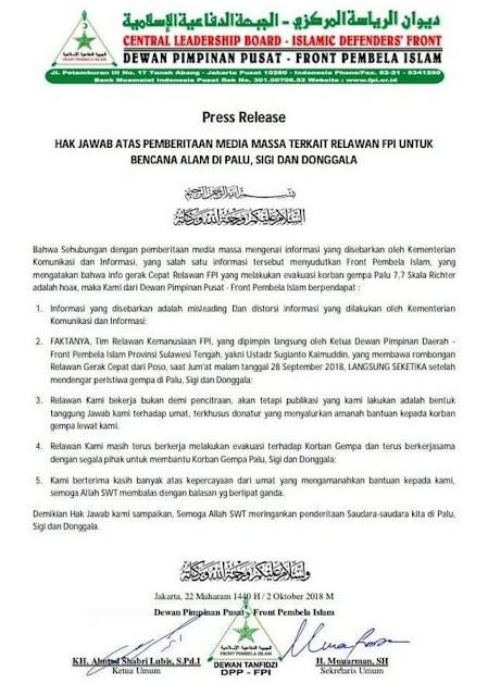 Tanggapan FPI Atas Tudingan Hoax Kominfo dan Media Terkait Kesigapan Relawan FPI di Palu