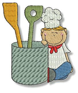 Imágenes Bordadas de Niños Chefs.