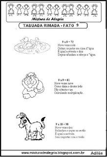 Tabuada rimada e ilustrada fato 9