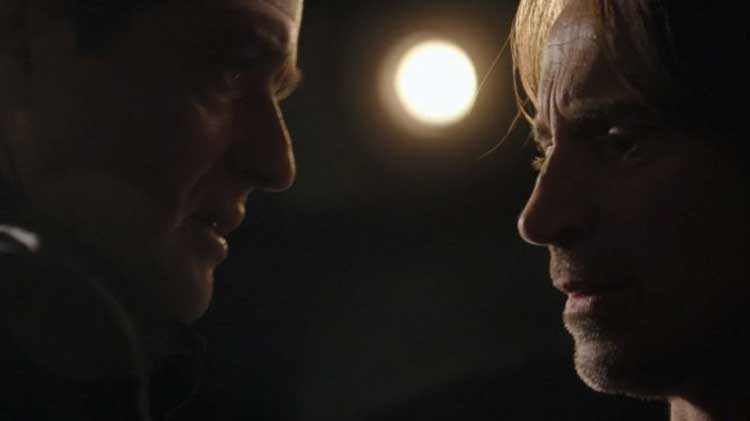 "Dr. Rush and Colonel Young in Stargate Universe's ""Life"""