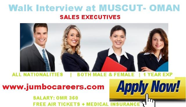 sales executive walkin muscut, latest jobs in oman