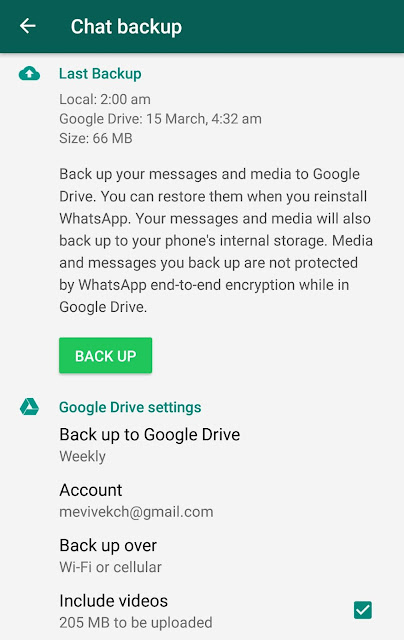Backup WhatsApp chats and media