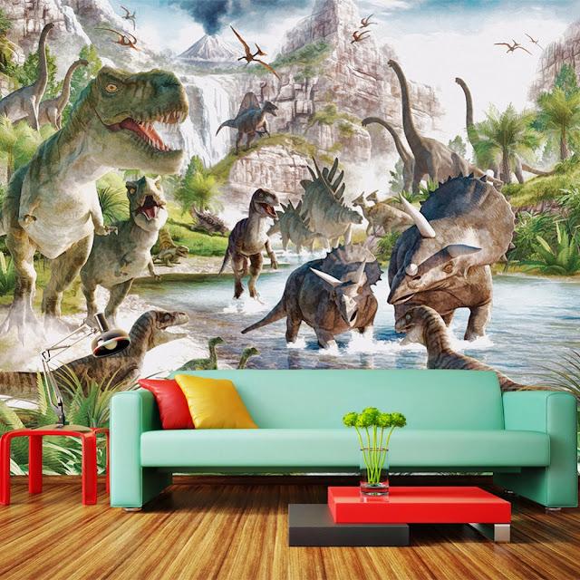 Dinosaur wall mural 3d wallpaper murals Jurassic world landscape Wallpaper For kids Bedroom