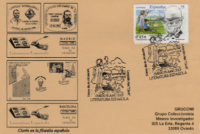 Tarjeta del matasellos PDC del sello dedicado a Leopoldo Alas Clarín