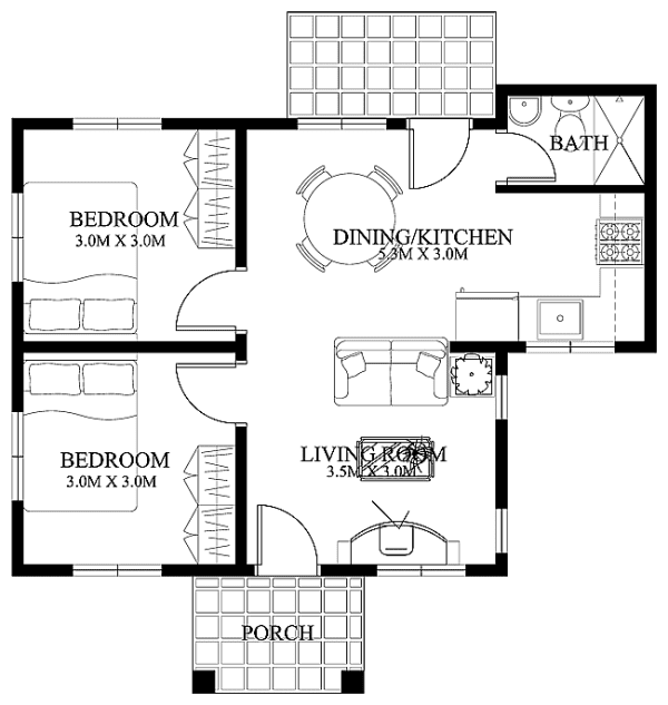Ordinary Small House Floor Plan Part - 6: Another Two-bedroom Small House With A Simple But Beautiful Design. This  House Model Is 61 Square Meters Total Floor Area That Includes The Small  Porch At ...