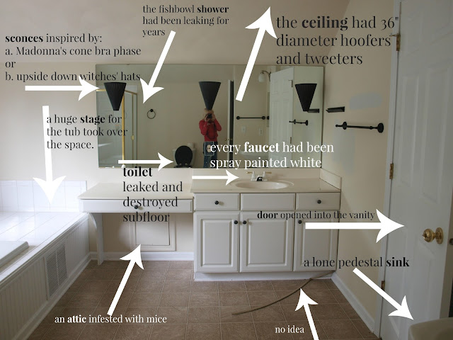 Master Bathroom before picture from Chicagoland fixer upper of Hello Lovely Studio