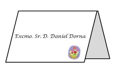 modelo tarjeta puesto de mesa con tratamiento honorífico