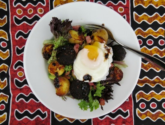 Black Pudding, Bacon and Potato Salad with a Poached Egg and a Balsamic Vinegar Reduction