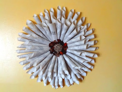wreath made pages of book wall hanging