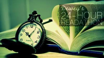 A yellow-green-toned image of a pocket watch set to 1:00 leaning against an open hardcover book with its pages bent into the shape of a heart. The words 'Dewey's 24 Hour Readathon' appear in the upper right hand corner.