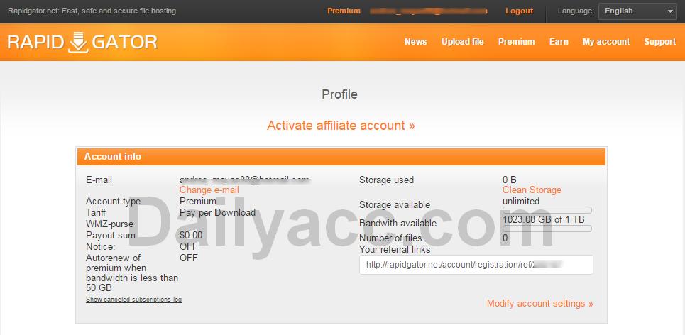 Rapidgator.net Premium Account April 20, 2017 Bandwith available 1023.08 GB of 1 TB