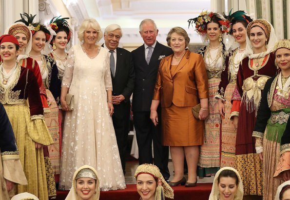 Prince Charles, the Duchess of Cornwall, President Prokopis Pavlopoulos, Vlassia Pavlopoulou, Alexis Tsipras and Betty Baziana