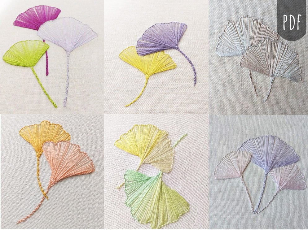 Gingko leaves pattern by New Leaf Stitchery on Etsy as featured by floresita on Feeling Stitchy