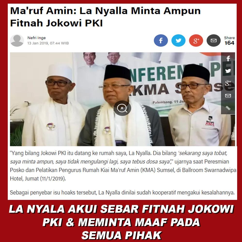 Ma'ruf Amin: La Nyalla Minta Ampun Fitnah Jokowi PKI