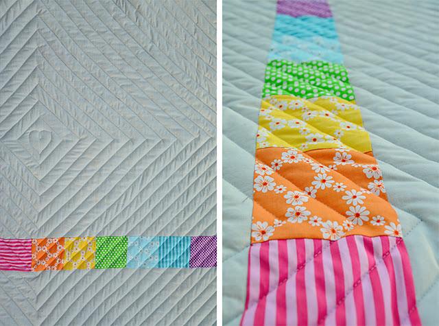 Rückseite der Babydecke - Quiltlinien