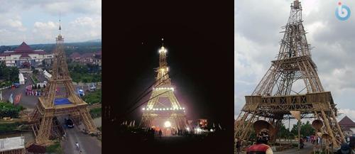 Gambar Foto Menara Eiffel dari Bambu di Singaparna Tasikmalaya