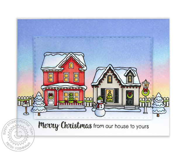 Sunny Studio Stamps: Christmas Home From Our House To Yours Card by Mendi Yoshikawa