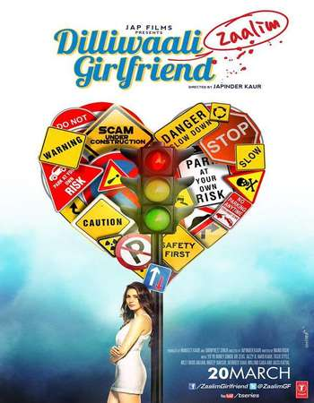Poster Of Dilliwaali Zaalim Girlfriend 2015 Hindi 400MB HDRip 720p HEVC Watch Online Free Download Worldfree4u