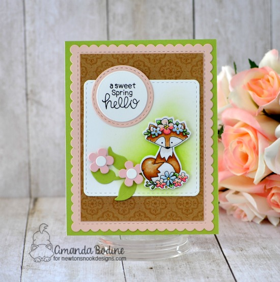 Sweet Spring Hello Card by Amanda Bodine | Woodland Spring Stamp Set, Frames Squared Die Set, Flower Trio Die Set and Frames & Flags Die Set by Newton's Nook Designs #newtonsnook #handmade