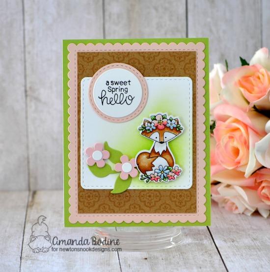 Sweet Spring Hello Card by Amanda Bodine | Woodland Spring Stamp Set, Frames Squared Die Set, Flower Trio Die Set and Frames & Flags Die Set by Newton's Nook Designs #newtonsnook #handmade