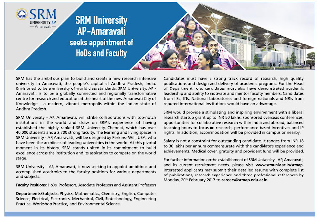 Recruitment vacancy SRM University AP