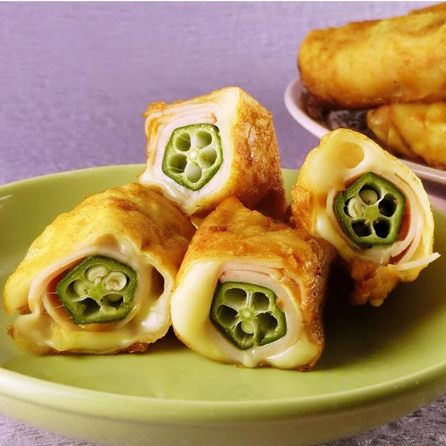 夏野菜のオクラレシピ!カレー風味のチーズ入り餃子巻き