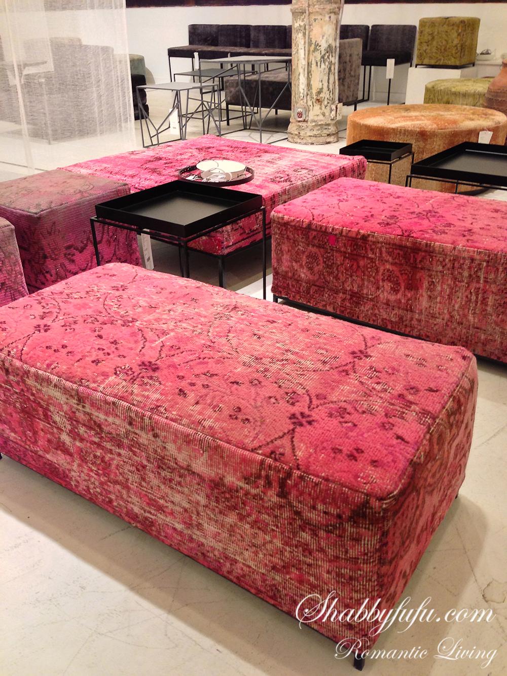 pink velvet ottomans