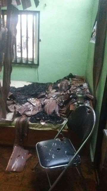 Graphic photo of the Nigerian Army female officer stabbed to death and set ablaze by her security guard in Edo