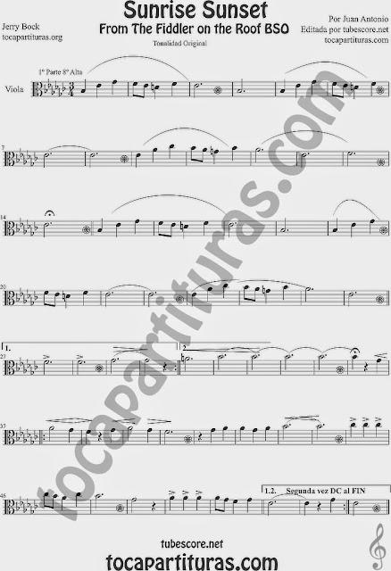 Partitura de Sunrise Sunset, de Jerry Bock  para Viola Sunrise Sunset score for Viola sheet music. Partitura de El Violinista en el Tejado violinistas. Tonalidad original, si quieres la partitura fácil la podrás encontrar arriba