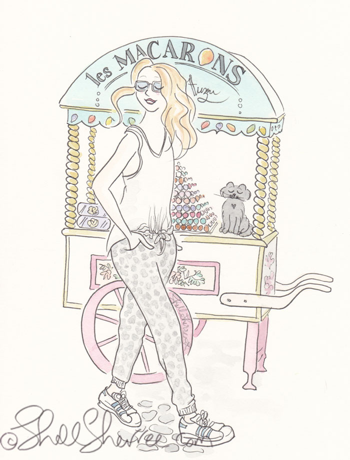 Paris Macarons Au Casuale illustration, Fashion & Fluffballs © Shell Sherree