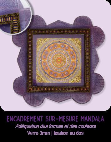Encadrement en carton sur-mesure pour mandala par l'atelier Cartons Dudulle