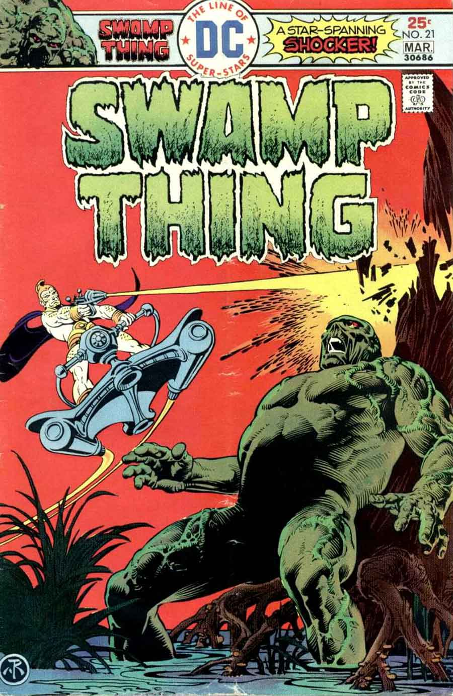 Swamp Thing v1 #21 1970s bronze age dc comic book cover art by Nestor Redondo