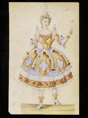 Design for a fancy-dress costume, Charles Frederick Worth, 1860s (made), Paris, Waterclour and pencil drawing, V&A, London, http://collections.vam.ac.uk/item/O577314/design-for-a-charles-frederick-worth/