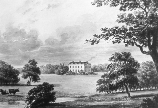 Drawing of Brookmans House by Buckler, 1840.Image courtesy of Hertfordshire County Records Office (HCRO)