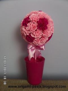róż, amarant, drzewko, krepa włoska, krepina, na szczęście, urodziny, dzień babci i dziadka,