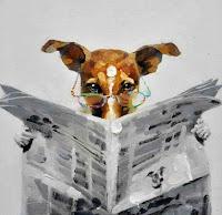 gambar anjing membaca koran lucu