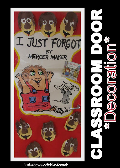 "photo of: Classroom Door Decoration for Mercer Mayer picture book ""I Just Forgot"""