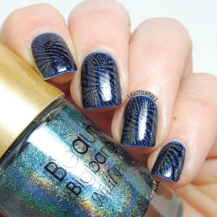 Nail art stamping blu e olografico blue and holo stamping nail art #nailart #stamping #lightyournails #beautybigbang #pupa #majordijit