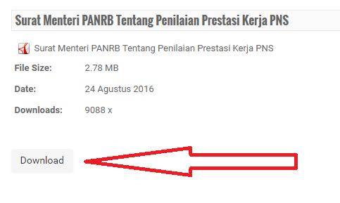 gambar download Surat Edaran MenpanRb tentang Penilaian Prestasi Kerja PNS